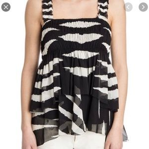 Tory Burch Lucia Top Black Ivory Animal Stripe NWT